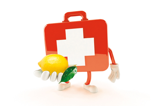 Medical Kit holding a lemon