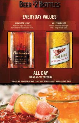 O'Charley's menu inserts everyday values