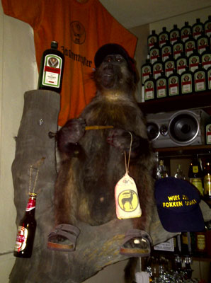 Monkey holding jagermeister