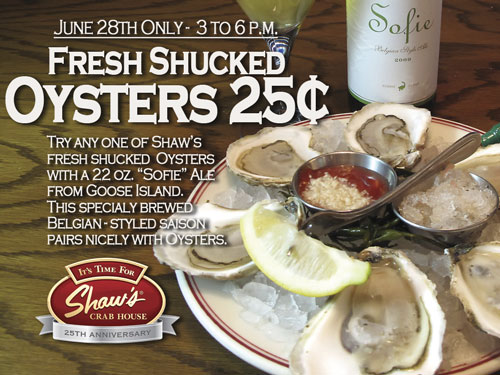 Oyster Promotion at Shaw's Crab House
