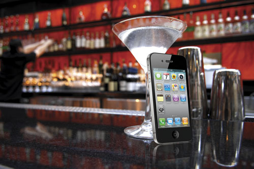 iPhone on bar