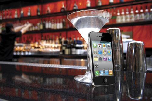 iPhone on bar