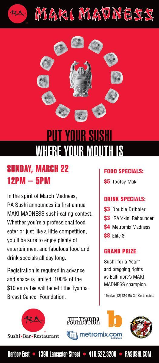 RA Sushi Maki Madness Flier