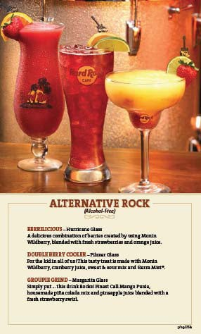 Hard Rock alcohol-free menu