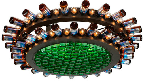 Custom Beer Bottle Chandeliers