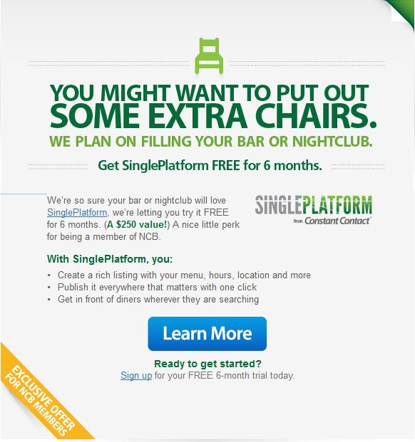SinglePlatform Constant Contact Offer