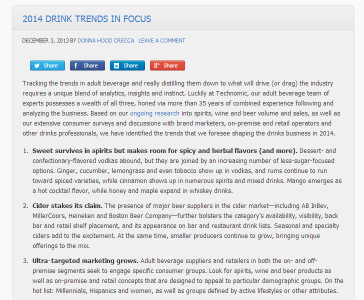 Drink Trends for 2014