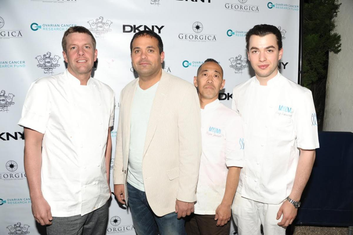 Image caption: Antonio Fuccio, second from left, Owner of Georgica Restaurant & Lounge, with three of his renowned chefs on staff.