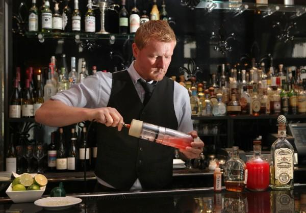 Chez Papa's Adam Chapman using his Perlini carbonated cocktail shaker. Photo: The Chronicle