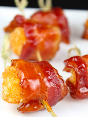 Barbecue Bacon Wrapped Tater Tots food recipe - Miss in the Kitchen