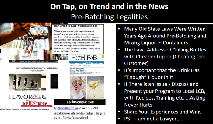 Pre-batched cocktails and the law - Kathy Kasey Liquid Kitchen