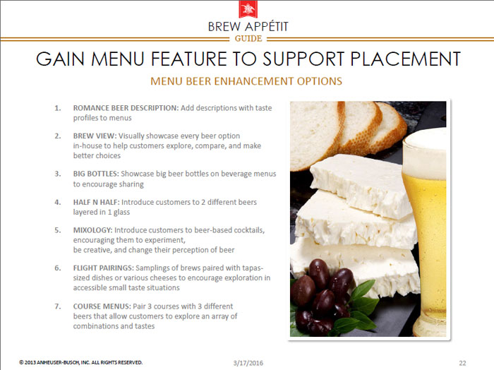 Gain menu feature - Elevating the Beer and Food Experience