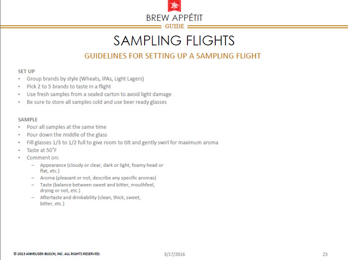 Beer sampling flights - Elevating the Beer and Food Experience