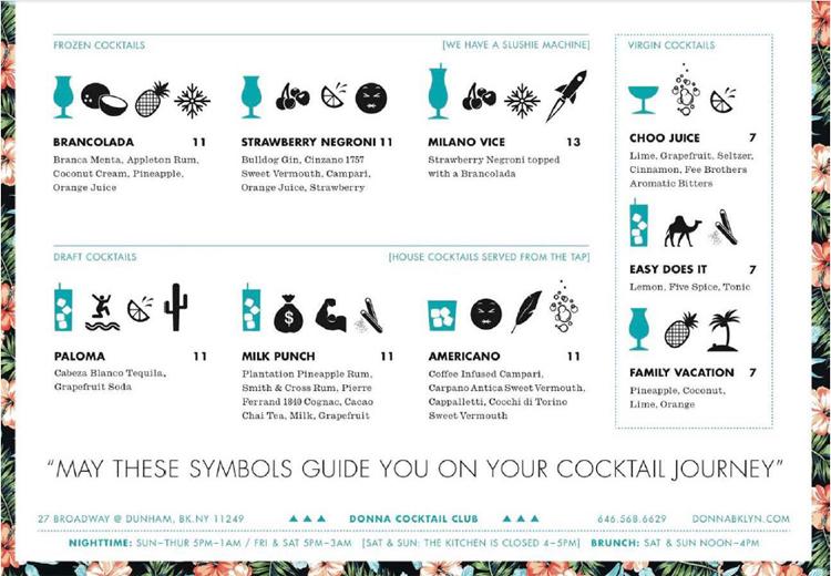 Donna Cocktail Club in NYC menu - Fun bar ideas