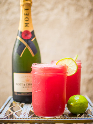 Watermelon Agua Fresca Mimosa cocktail recipe - Labor Day cocktails