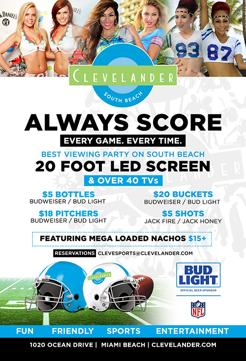 Always Score at Clevelander South Beach - Sports bar promotions