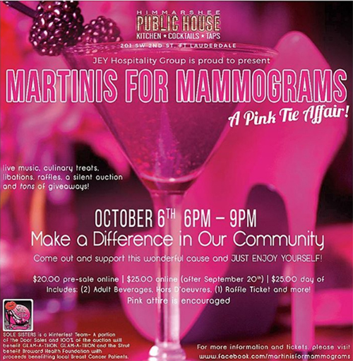 Martinis for Mammograms at Public House - Sports bar promotions