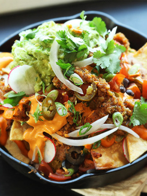 Ultimate Fully Loaded Vegan Nachos recipe - National Happy Hour Day food and cocktail recipes