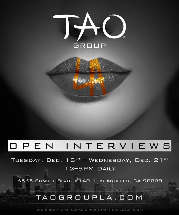 The TAO Group is hiring in LA on December 13, 2016  -TAO Group LA