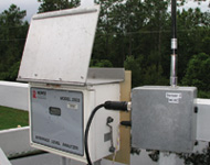 Figure 1. In this photo a mesh-enabled architecture (MEA) wireless sensor modem automatically transmits sludge blanket level data to the control center at the Orange County Water Reclamation Div. in Orange County, FL.