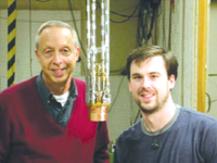 Professor Packard and grad student Ernie Hoskinson used a cryostat insert for their experiment with helium-4.