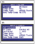 Figure 2. These examples of typical information displayed on the UDA2182 are pH in Input 1 (A) and conductivity in Input 2 (B).
