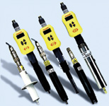 Figure 4. The yellow sensor electronics modules for pH, contacting conductivity, and dissolved oxygen all have the same form factor with a specific design for a single measurement. Different probes can attach either directly or remotely to the electronics.