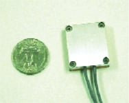 Figure 1. This photo shows the capacitively coupled noncontact electrode (CCNE) used in this study. This first version of the ECG electrode, including all amplification electronics, is ~1 in. square and 0.35 in. thick.