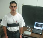 Figure 3. Here we see a QUASAR employee wearing the T-shirt and Velcro strap.