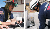 Figure 5. Members of the Sacramento Metro Fire District use the Sensor Web at the Disaster Assistance and Rescue Team Training Facility at NASA/Ames to aid in their collapsed-structure operations. On the left, a rescue worker monitors the entire system from a portal pod. On the right, a rescue worker lowers a pod into a confined space