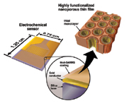 Figure 3. Thin-film SAMMS can be used as a coating on the electrode surface of electrochemical sensors