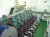 Figure 2. The project's predictive maintenance system monitored the pumps and motors in the ship's  starboard engine room. Nearly 150 accelerometers attached to the machinery provided vibration data to   evaluate operating conditions, and wireless motes and gateways delivered the wireless communications used  to send alerts when wear and tear was detected