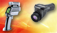 These examples of noncontact temperature sensors are available from Raytek Corp. (www.raytek.com), left, and FLIR Systems (www.flir.com)