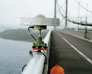 Figure 1. During the trials, the staff used clamps to attach the GPS choke ring antennas to the bridge's handrail