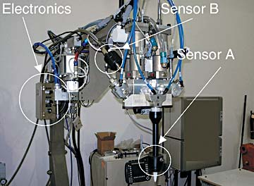 Figure 4. As the material is dispensed, the sensors perform a 100% inspection of mix accuracy.