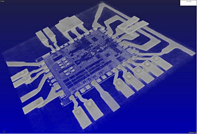 Figure 1. X-ray CT image of embedded VCO (Voltage Controlled Oscillator) chips connected via two metal layers