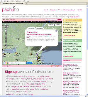 Figure 3. Innovative Web sites such as Pachube, where people from around the world are putting their data for remote display, illustrate that the Instrumentation Cloud is moving from concept to reality