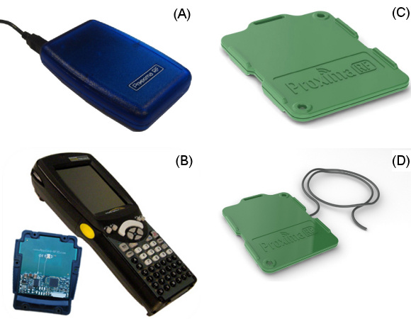 Figure 4. The USB Desktop Reader (A), AVX Mobile Reader (B) and the soon to be available Mid-range reader (no image) offer options for interfacing to the MLX90129 transponder found in a temperature tag (C) as well as a tag with a sensor extension (D)