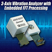 Figure 1. The ADIS16227 combines a vibration sensor, signal processing, data analysis, and data storage in a compact package