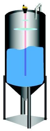 Figure 1. Ultrasonic transmitter mounted on top of tank