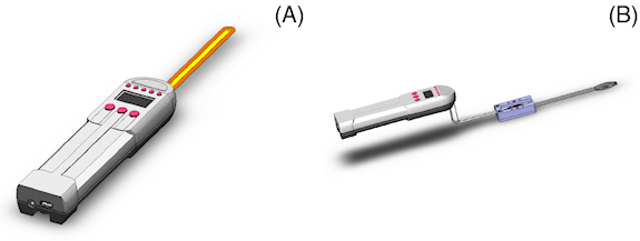 Figure 8. Sensor wand mounting configurations with an integral flexible wand on the left (A) and a remote spring-contact wand (B) on the right