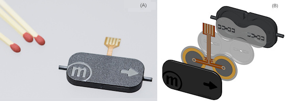 Figure 1. The m-6 micropump (A) and an exploded view of the micropump components (B)