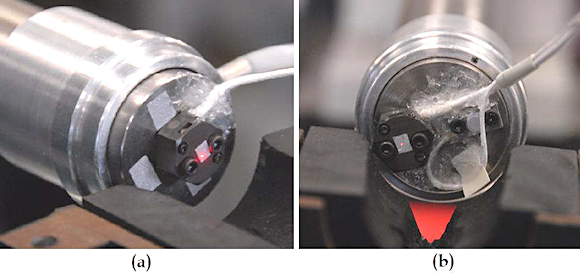 Figure 4. Mounting configurations for the LDV (A) and side-by-side reference methods (B) used in the test series (the legacy undamped reference accelerometer is partially obscured by RTV which is used to strain relieve the cable and prevent damage during shock)