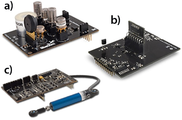 Figure 3. Sensor connection to Waspmote is via a) the Gas Sensor Board, b) the Parking Sensor Board, and c) the Smart Cities Sensor Board