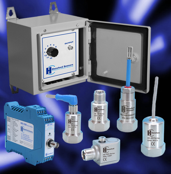 A vibration monitoring system with a variety of components.