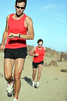 Fig, 1:  Distance runners use smart watches to monitor performance.
