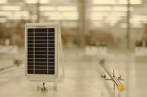 Fig. 2: A wireless sensor with solar-powered module.