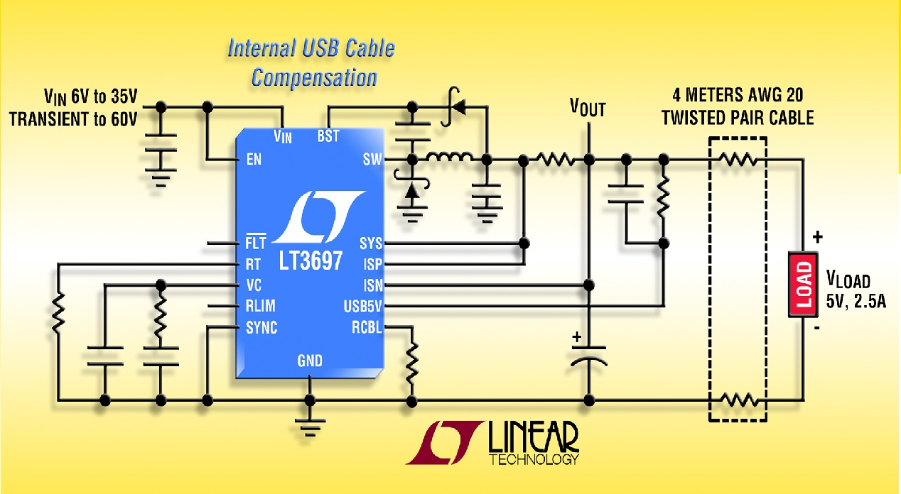 5v 25a Usb 35v Input Buck Regulator With Cable Drop Compensation Twisted Pair Schematic