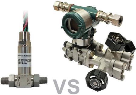 Fig. 2: A smaller, more compact differential pressure transducer (left) can permit hardware installations in smaller areas closer to the process.