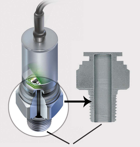 Fig. 4: Shown is a cutaway of a pressure transmitter from American Sensor Technologies that uses a single piece of metal and contains no silicone oil, O-rings, or welds. This MEMs pressure sensor technology completely isolates the liquid or gas to the process connections, thus eliminating contamination risk. The low strain level (typically 275 microstrain) on the diaphragm results in accurate, repeatable measurements.